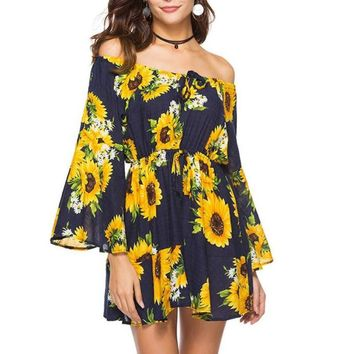 Sunflower Printed Bohemian Summer Dress