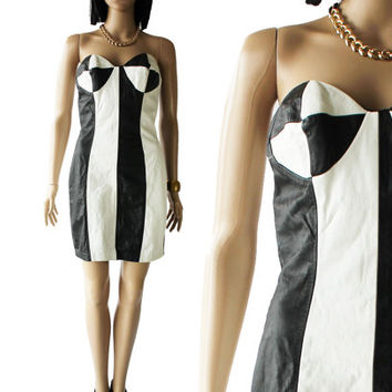 Leather Bustier Dress Black and White Color Block 90's 80's Vintage Hip Hop Clothing CLIMAX Women's Size Small