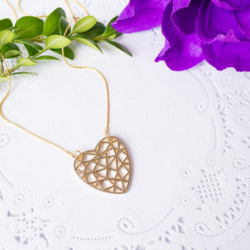 Gold Plated Necklace With geometric 18k gold plated heart / Gold plated geometric necklace  / Bridesmaid gift / statement necklace