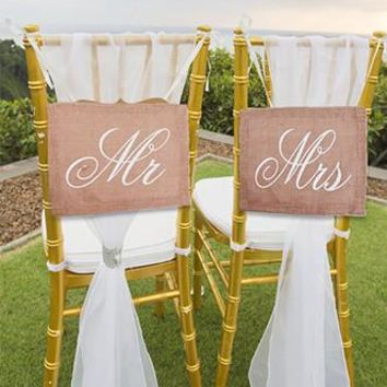 Burlap Garland Banner Bride Groom Chair Signs Photo Prop - PR602