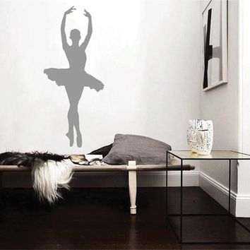 ik2271 Wall Decal Sticker ballerina dance ballet pas pirouette girl bedroom
