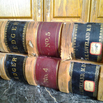 2 Medical Ledger Antique Books 1906 Books Connecticut Historical 1906-1910 1910-1915 Vintage Collectible