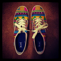 Keds - Handpainted Custom Keds Tribal Print Canvas Shoes - Custom Canvas Shoes - Size 5 - 6 - 7 - 8 - 9 - 10 - 11