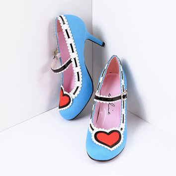 Light Blue & Red Heart Mary Jane Pumps