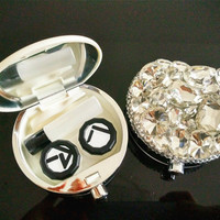 Full Crystal Contact lens Case Travel Contact Lens Kit Set, Bling Contact lenses Case Handmade Gift
