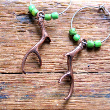Copper Antler Earrings - Antler Earrings - Deer Antler Earrings -Turquoise Earrings - Mohave turquoise - Woodland gift under 25