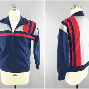 1970s - 1980s Vintage / BREO Colorblock Track Suit / Workout Jacket / Sweater / Zip Front / Break Dance / 80s Fashion / Hip Hop Gear / Korea