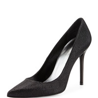 Nouveau Metallic Pointy-Toe Pump, Black - Stuart Weitzman