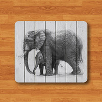 Elephant Pencil Drawing Wooden Mouse Pad Wood Animal Head MousePad Desk Deco Work Pad Mat Rectangle Personal Gift Computer Pad Big Wild Pad