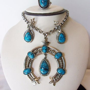 ART Squash Blossom Faux Turquoise Navajo Design Vintage Necklace Earrings Silver Plate Set