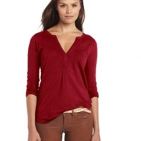 Lucky Brand Women's Bela Henley, Dark Red, Medium