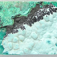 Blue Green Chrysocolla with Black Dendrites Mineral Specimen Focal Stone