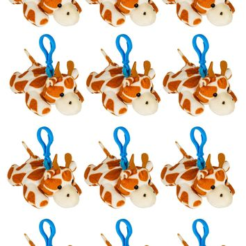 12 Pack Giraffe Stuffed Animal, Backpack Clip Toy Keychain, 4 Inch Plush Kids Party Favors