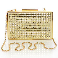 Cute Studded Purse - Gold Purse - Gold Clutch - $37.00