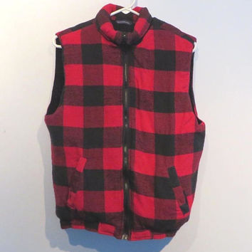 Red Plaid Vest, Men's Flannel Vest, Vintage Buffalo Plaid Quilted Vest, Faded Glory 1990s Outerwear, Size Small, FREE SHIPPING