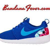 "Nike ""Spring Fling Floral"" Roshe Run Women's Blue/Clearwater Heels + FREE SHIPPING - by Bandana Fever"
