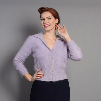 50s ANGORA Pin Up CARDIGAN / Lavender Fluffy Cardi Sweater, s - m