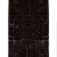 """8' x 10' Cowhide Rug 4"""" Square Patches, Black"""