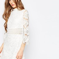 ASOS High Neck Embroidered Lace Mini Shift Dress