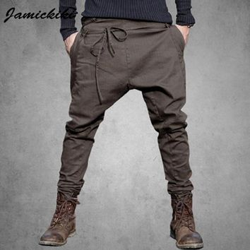 Europe&America Style Trousers Men Fashion 2017 New Arrival Waist lanyard Cool Design Black Harem Pants High Streetwear JMK500255