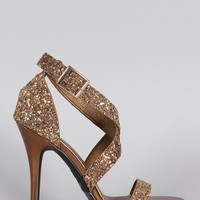 Dollhouse Glitter Crisscross Open Toe Heel