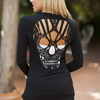 Skull Back Cardigan Black