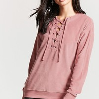 Fleece Lace-Up Top