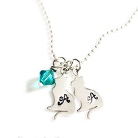 Cat or Dog Sterling Silver Personalized Hand Stamped Necklace