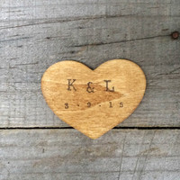 Personalized Rustic Wooden Heart Favor, Rustic Wedding Favor, Thank You Tags, Save the Date , Wishing Tree Tags, Guest Favor