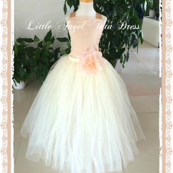 Champagne and Cream Princess Handmade Flower Girl Dress – Floor Length Tutu with Flower – Ivory Wedding Gown - Age 2 3 4 5 6 7 8 9 10 11