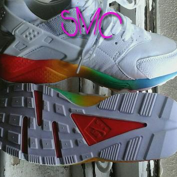 Nike Air Huarache Painted Shoes Originals Customized Sneakers Rainbow Sole Trainers Hu