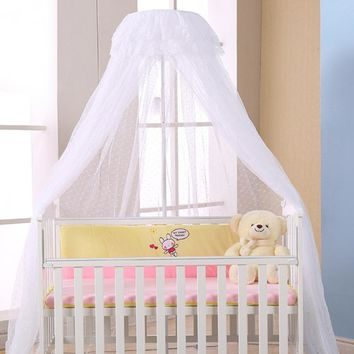 Mosquito Net Baby Mosquito Net Infant Crib Netting Round Dome Bed Canopy Bedding Mosquito Net Holder 4 Colors