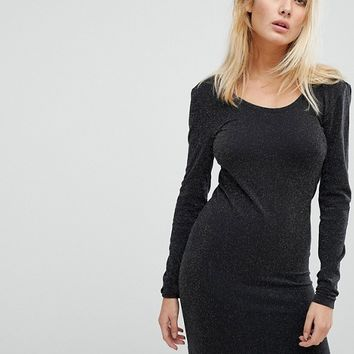 Noisy May Long Sleeve Glitter Mini Dress at asos.com