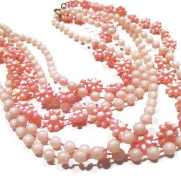 Pink Flower Power Necklace plastic molded beads Long Necklace True Vintage 60 70s