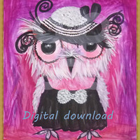 Vintage baby owl pink abstract digital download Baby owl digital printable /Bird download /Owl digital download