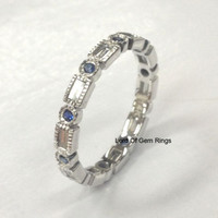 Blue Sapphire Baguette Diamond Wedding Band Eternity Anniversary Ring 14K White Gold