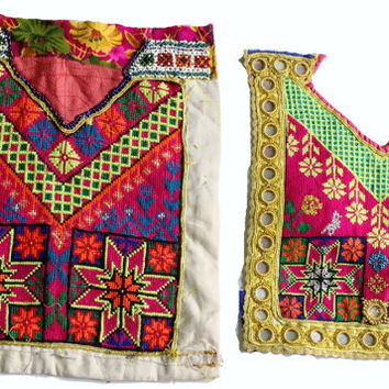 FREE SHIPPING -A set of 2 pieces assorted vintage banjara neck yokes. Beautiful hand embroidery and mirror work on old fabric.