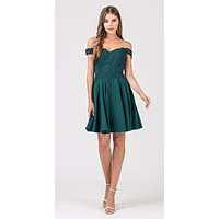 Off-Shoulder Short Homecoming Party Dress Hunter Green