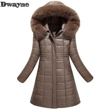 Plus Size 8XL Boutique Women Winter PU Leather Coat New Fashion Plus Cotton Jacket Hooded Fur Collar Windproof Warm Coat Down