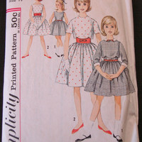 1950s Girls Party Dress Jacket & Cummerbund Sewing Pattern Simplicity 4785 Sz14 Chest 32