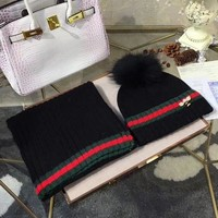 DCCKNQ2 GUCCI Fashion Beanies Knit Winter Hat Cap Scarf Scarves Set Two-Piece5