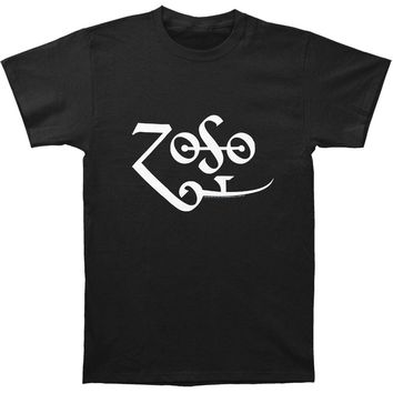 Jimmy Page Men's  White Zoso Logo T-shirt Black