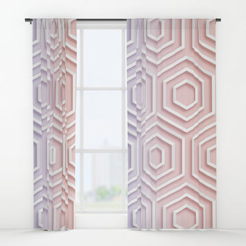 3D Hexagon Gradient Minimal Minimalist Geometric Pastel Soft Graphic Rose Gold Pink Window Curtains by AEJ Design