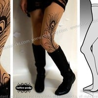 Small/Medium sexy peacock FEATHER by tattoo tights