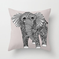 Elephant Pillow - Double Sided Throw Pillow - Hipster Elephant Pillow Cover in Grey - Faux Down Insert - Illustrated Elephant Pillow Cover