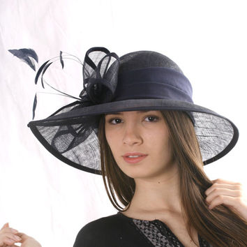 Navy Ascot wide brim hat,Kentucky derby hat, Asymmetric Wedding hat, Special Event Tea Party hat, Melbourne cup hat, 20's Gatsby style hat