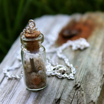 Beach in a bottle necklace, delicate handmade silver unique tiny jewelry, Sand and driftwood piece in glass vase