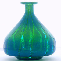Mdina Seaweed Carousel Vase,  turquoise blue yellow green glass, Malta, scarce shape
