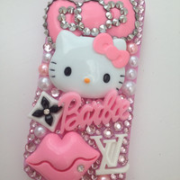 Studded Kitty & Barbie Crystallised Baby Pink Sparkly Bling iPhone 5 Cell Phone Case