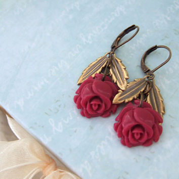 ROSEBUD deep red resin rose cab earrings in by plasticouture